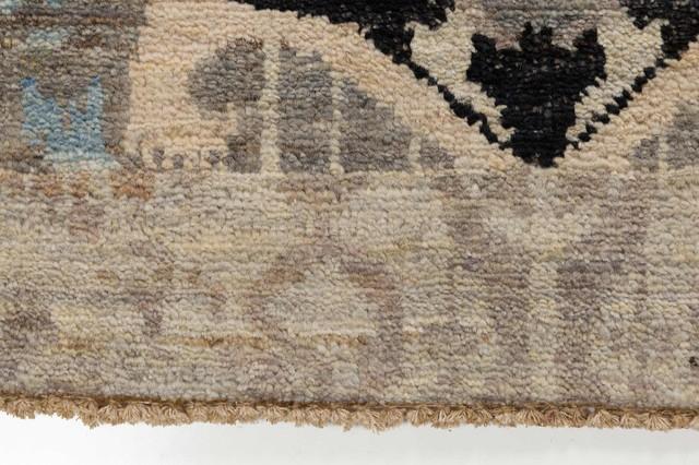 Ivory Teal Blue Black Ikat Rug 6x9 Rectangle