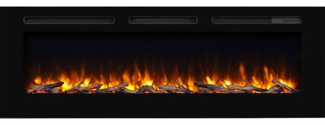 "PuraFlame 60"" Alice In, Wall Recessed Electric Fireplace, Touch Screen Control"