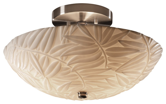 "Porcelina Ring 14"" Semi-Flush Bowl, Round Bowl With Bamboo Shade."