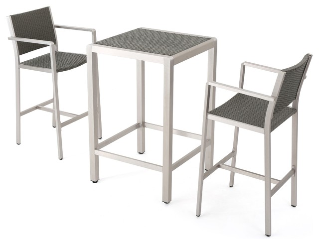 Capral Outdoor Gray Wicker Bar 3-Piece Set.