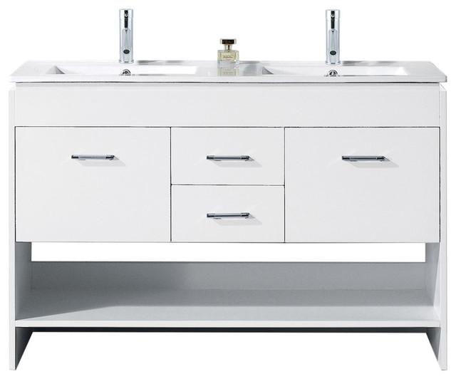 """Gloria 48"""" Double Bathroom Vanity Set, White."""