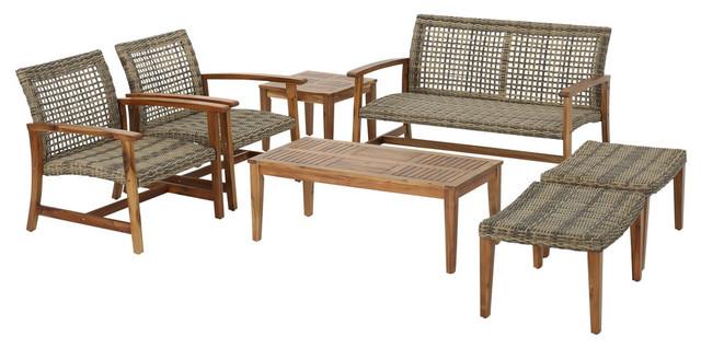 Savannah-Outdoor-Mid-Century-7-Piece-Acacia-Wood- - Savannah-Outdoor-Mid-Century-7-Piece-Acacia-Wood-Frame-Wicker-Chat