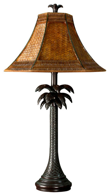 French Verdi Finished Resin Palm Tree Table Lamp With Matching Finial.