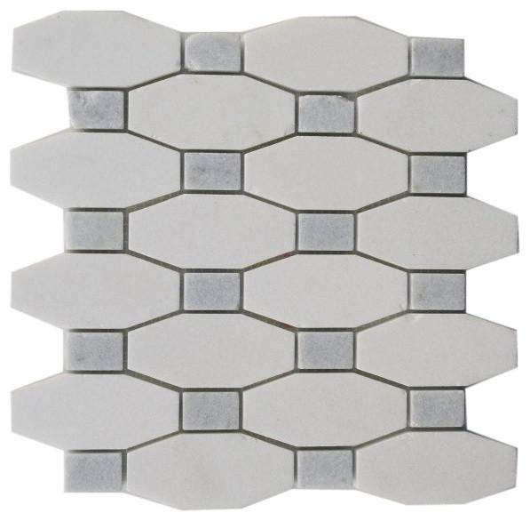 "10""x10"" Octave Pattern White Thassos Blue Celeste Dot, Single Sheet"