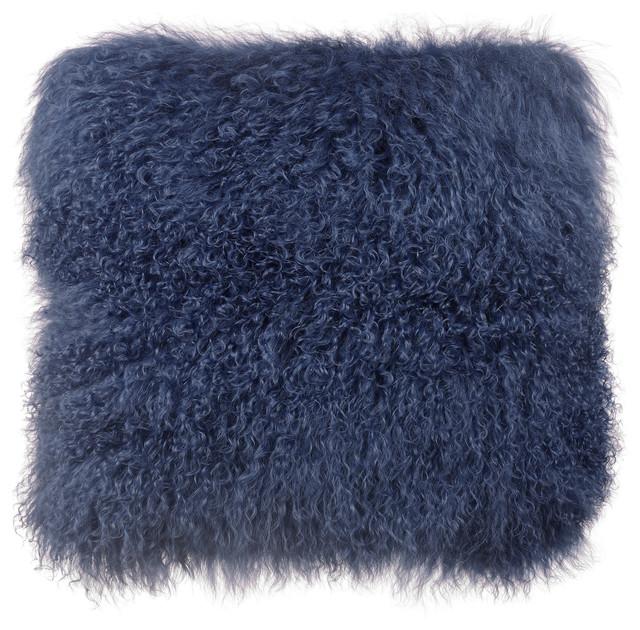 Tibetan Sheep Large Pillow, Blue.