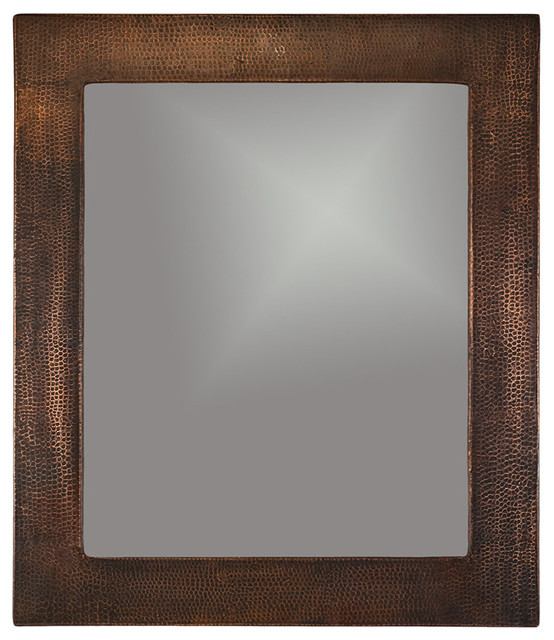 36 Hand Hammered Rectangle Copper Mirror Traditional Bathroom Mirrors