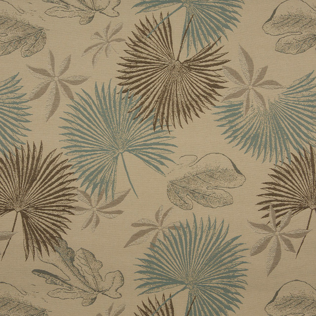 Tan Brown And Teal Floral Leaves Indoor Outdoor Upholstery Fabric By ...