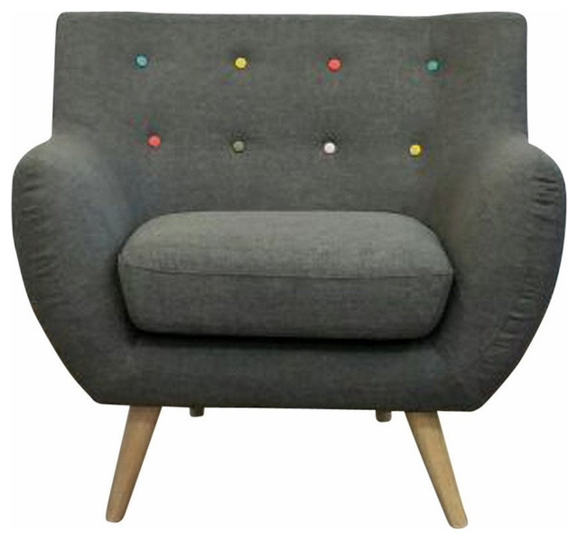 Lovely Ebba Armchair, Gray, With Multicolor Buttons  Midcentury Armchairs And Accent