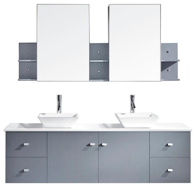 Clarissa 72 Double Bathroom Vanity Cabinet Set Gray Polished Chrome