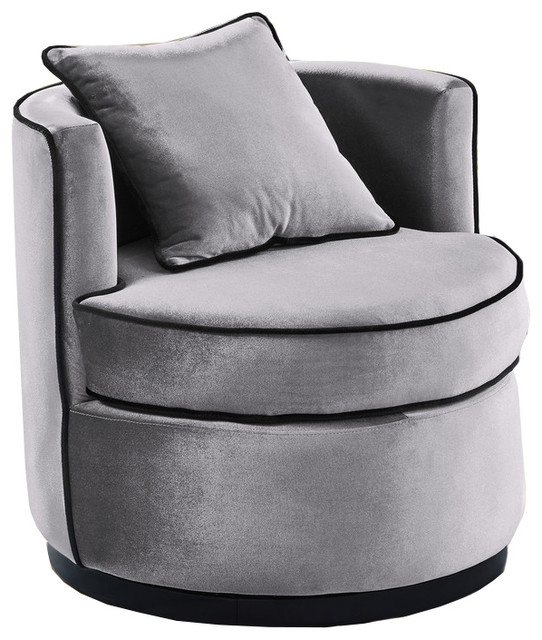 Dwellist Belarus Swivel Chair Gray Velvet And Black