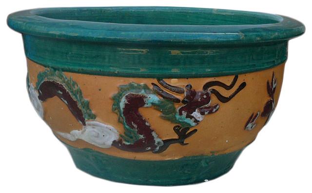 Chinese Dragon Phoenix Ceramic Round Planter Asian