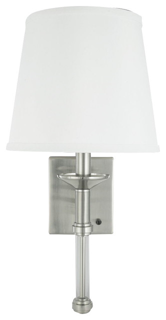 Brushed Nickel 1 Light Wall Sconce Plug In Or Hard Wire on
