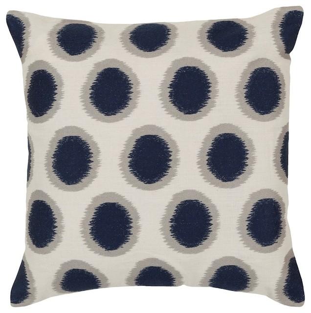 """Ikat Dots By Surya Pillow, Cream/dk.blue/gray, 22""""x22"""", Ar088-2222p."""