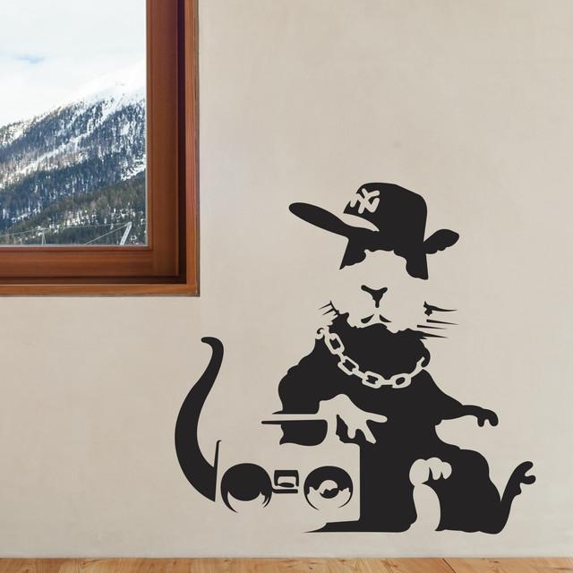 Wallsneedlove banksy fly rat wall decals wall decals houzz for Banksy rat mural