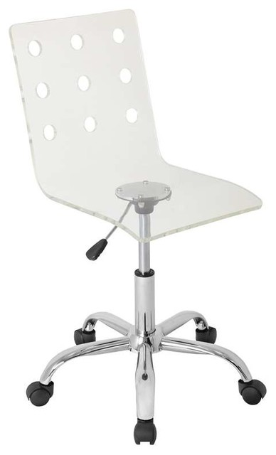 Swiss Acrylic Office Chair, Clear.