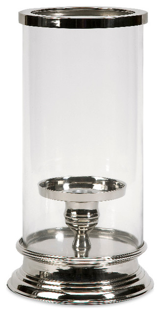 Imax Ashley Silver Chrome Small Hurricane Style Candle