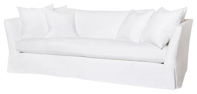 """Seda Denim Feather Down Slip Cover Sofa, White Cotton, 100"""" transitional-sofas"""