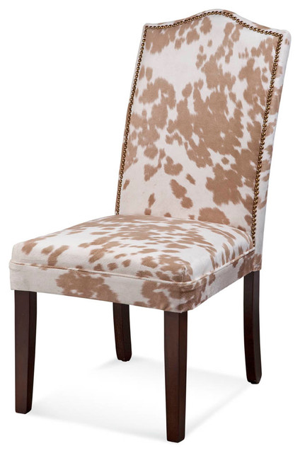 Cow Print Nailhead Parsons Chairs, Set Of 2   Dining Chairs