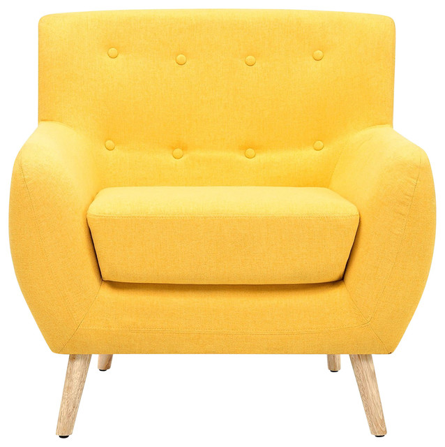 Pleasing Modern Yellow Linen Upholstered Armchair With Mid Century Style Wooden Legs Inzonedesignstudio Interior Chair Design Inzonedesignstudiocom