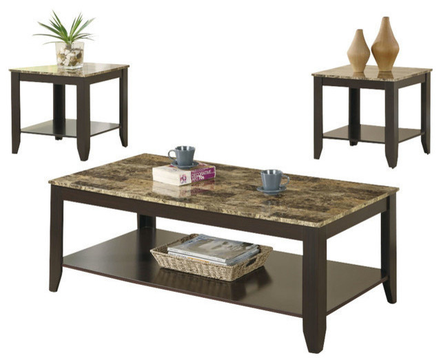 Cappuccino Coffee Table Set.Table Set 3 Piece Set Cappuccino Marble Look Top