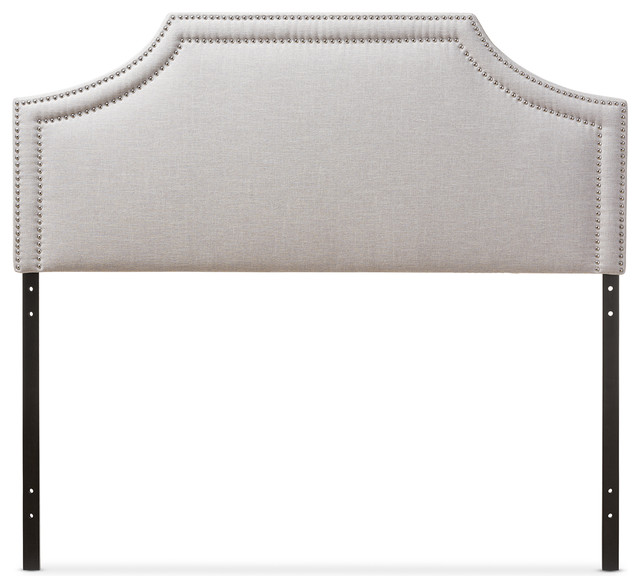 Avignon Fabric Upholstered Headboard, Grayish Beige, King.