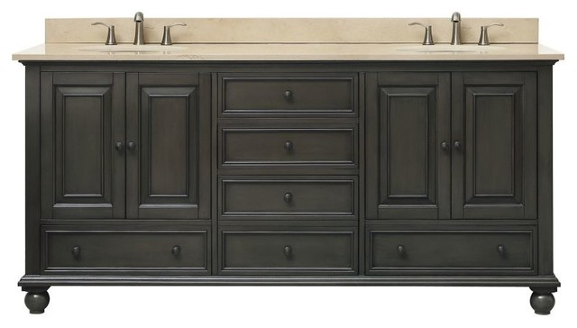 Thompson 73 Double Sink Vanity Combo Charcoal Glaze Traditional Bathroom Vanities And Consoles By Poshhaus