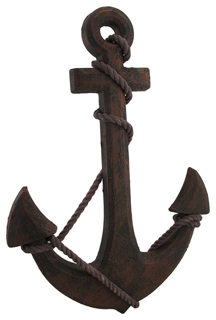 Oxidized Finish Ship Anchor And Rope Nautical Wall Hanging.