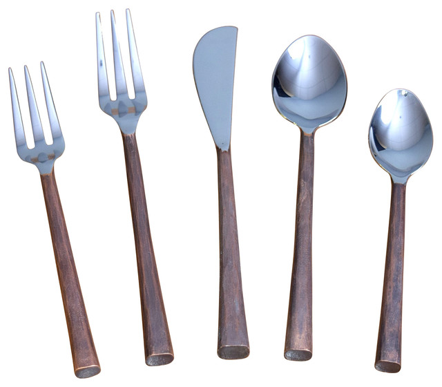 Canyon 5 Piece Flatware Set Contemporary Flatware And Silverware Sets By William Sheppee