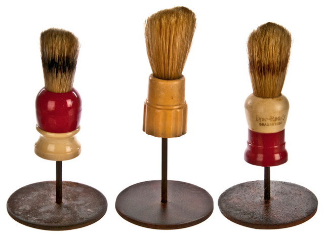 Consigned Set of Three Vintage Shaving Brushes on Stands #12