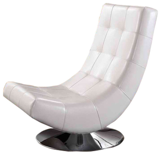 Elsa Contemporary White Faux Leather Upholstered Swivel