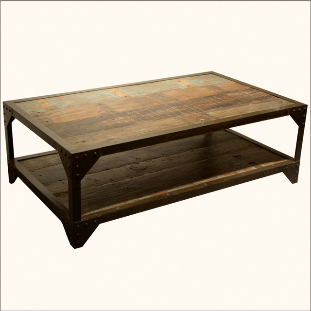 Industrial wrought iron old wood 2 tier coffee table for Wood coffee table with wrought iron legs