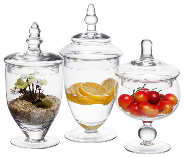 Clear Glass Apothecary Jars, 3-Piece Set.