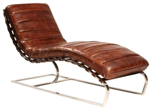 St. James Vintage Cognac Leather Chaise Lounger.