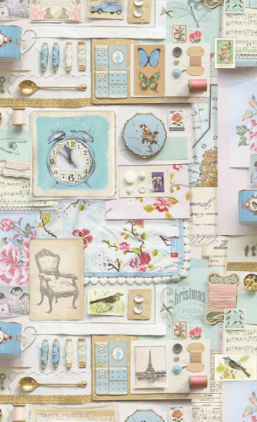 Pip Pastel Love To Collect Wallpaper Shabby Chic Style