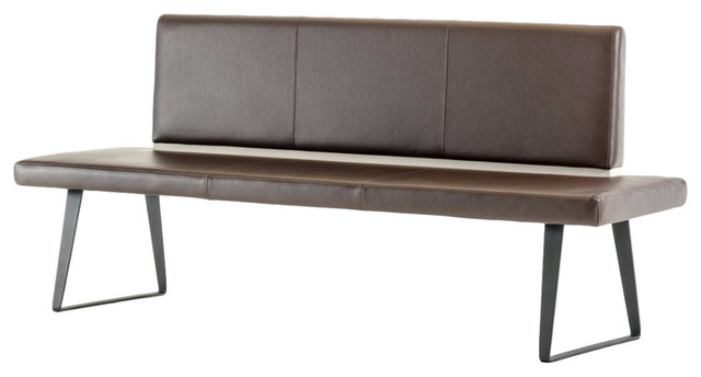 Modrest Union Modern Brown Leatherette Dining Bench.
