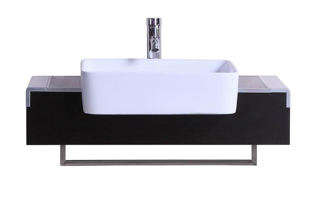 32 Belvedere Modern Wall Mounted Bathroom Vanity With Vessel Sink, Espresso.