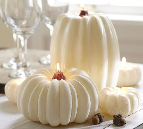 White Pumpkin Candle candles and candle holders