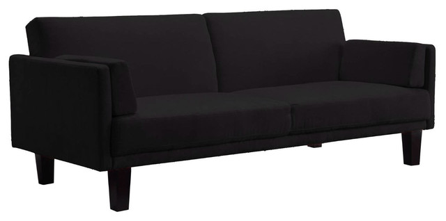 Modern Microfiber Upholstered Sofa Bed With Classic Wood Feet, Black.