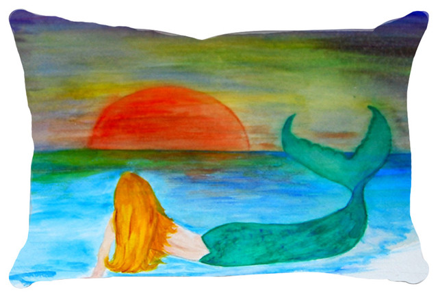 Mermaid Art Lumbar Throw Pillows From Art, Sunset Mermaid.