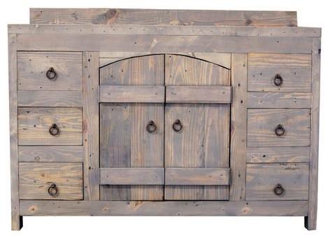 Old World Reclaimed Barnwood Vanity - Farmhouse - Bathroom ...