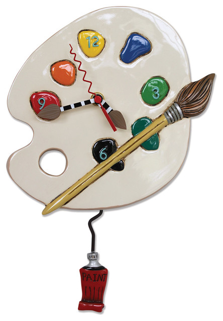 Allen Designs Art Time Pendulum Whimsical Battery Operated Wall Clock