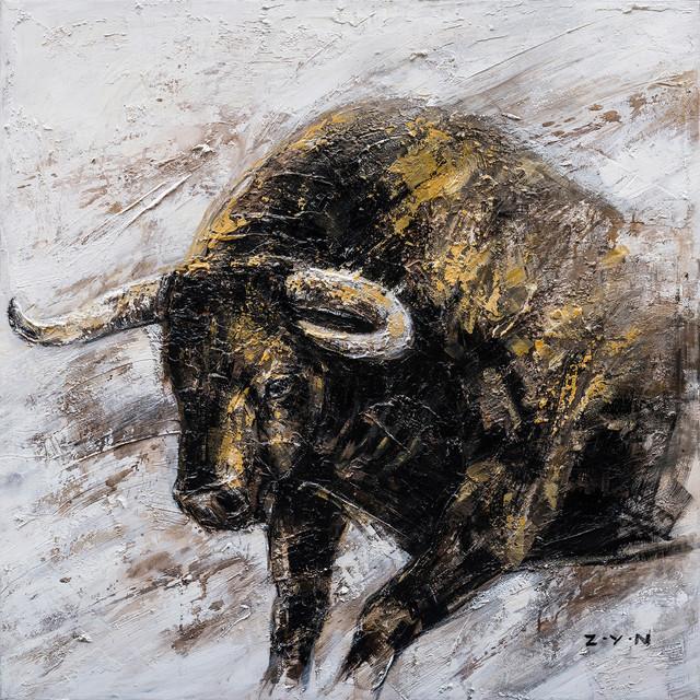 """Wall Street Bull Hand Painted"" Canvas Artwork, 40""x40"""