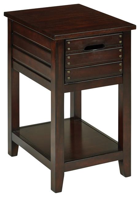 Osp Camille Chair Side Table, Walnut Finish.