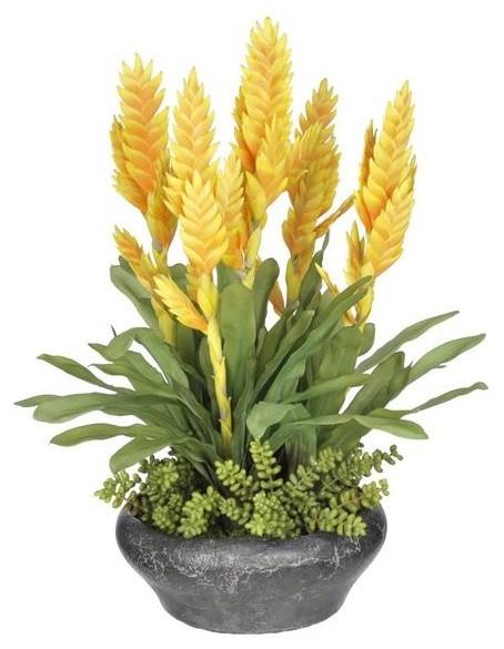 Artificial yellow bromeliad in stone bowl tropical artificial artificial yellow bromeliad in stone bowl mightylinksfo