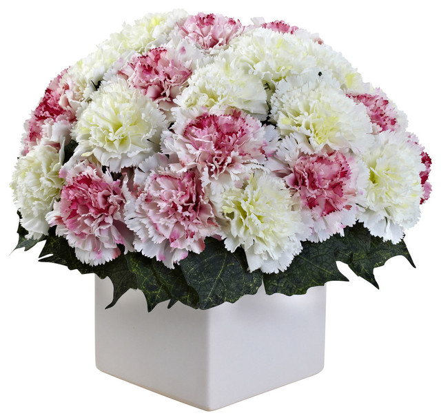 Nearly Natural Home Garden Decorative Carnation Arrangement ...