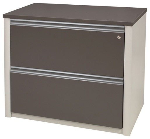 """Bestar - Bestar Connexion 36"""" Assembled Lateral File, Bordeaux And Slate & Reviews 