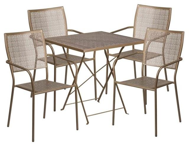 5-Piece Contemporary Patio Table Set, Gold.