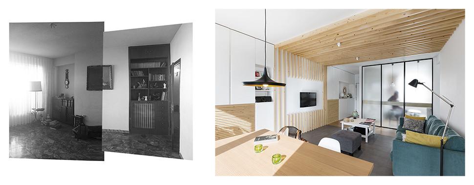 Vista desde el comedor hacia el hall, antes y después.