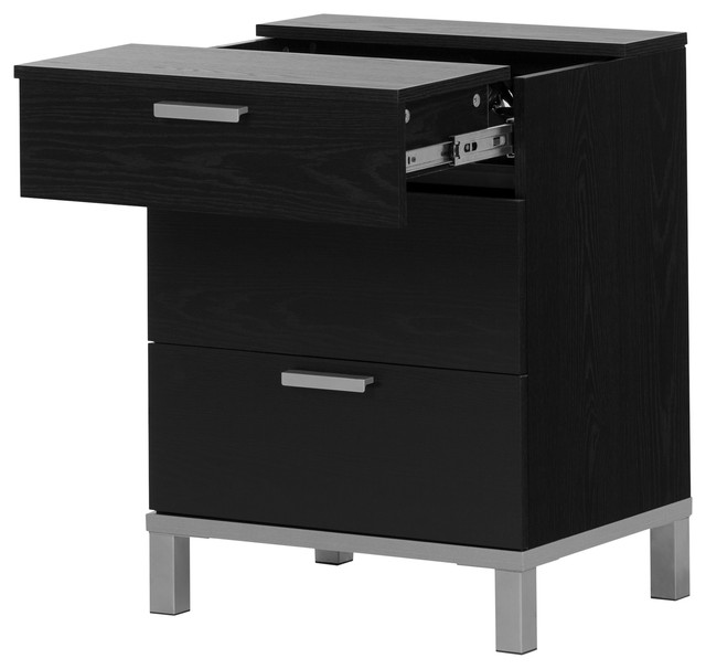 South Shore Flexible Nightstand With Charging Station And Drawers, Black Oak.