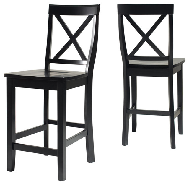 X Back Bar Stools With 24 Seat Height Set Of 2 Black